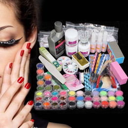 Wholesale 42 Acrylic Nail Kits - Wholesale- 42 Acrylic Powder Liquid Nail Art Kit Glitter UV Gel Glue Tips Brush Set 2016