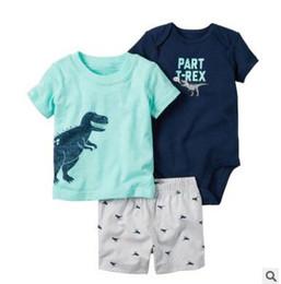 Wholesale Baby Boy Shorts Plaid Pants - Baby Boy Girl Clothing Set Dinosaur Tops Plaid T-shirt Shorts Romper 3 pcs Bebes Bodysuit Pant Set Baby Clothes Boutique Clothing 6-24M 685