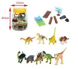 Wholesale Multicolor Block Bricks - 9pcs lot 15cm PVC dinosaurs Building Blocks Sets Model figures Bricks Toys with plastic crock package Elaka SJ-035