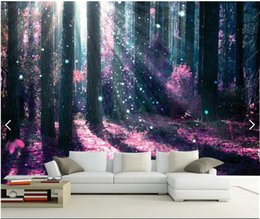 Wholesale Pictures Papers - 3d room wallpaper custom photo mural Violet forest tree picture home decor background painting 3d wall murals wall paper for walls 3 d