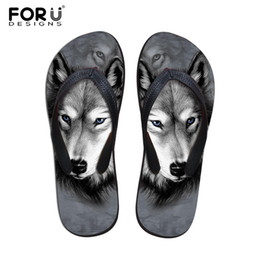 Wholesale Blue Zoo - Wholesale-new 2016 summer slippers beach flip flops Men's sandals fashion 3d zoo animal wolf owl printed slippers rubber sole flip-flops