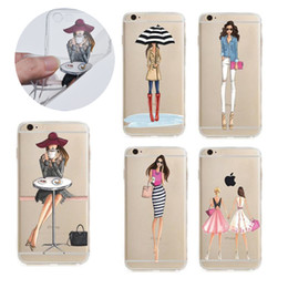 Wholesale Transparent Bags Shop - Fashion Shopping Girl Painting Ultra thin Transparent Soft TPU CaseCase For iphone 7 6s 6 plus Samsung S7 edge OPP BAG
