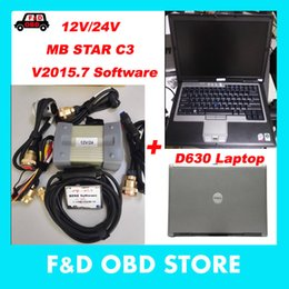 Wholesale Mercedes C3 - 2017 Top VXDIAG New Obd2 Scanner Mb Star C3 For Mercedes Cars And Trucks +D630 Laptop Das xentry V2015.07 Hdd 12 24v full cables
