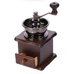 Wholesale Hand Grinders Coffee - Retro design Manual Coffee Bean Herbs Vintage Hand Grinder Wooden Burr Mill Coffee Bean Grind LZ0285