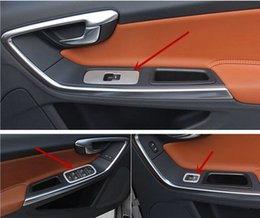 Wholesale Car Door Switch - Car Door armrest switch panel cover trim for Volvo XC60 S60 V60 stainless steel interior window lift button decorative strip