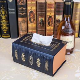 Wholesale Books Tissue Box - Wholesale- European Style retro noble emulation Books tissue boxes, car rectangular leather pumping tray