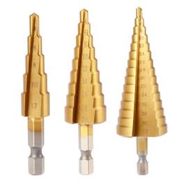 Wholesale 32mm Drill Bit - 3pcs HSS Straight Grooved Step Cone Drill Titanium Coated Drill Bit Hex Shank 4-12mm 4-20mm 4-32mm Cut Holes Tool Set BI685-SZ