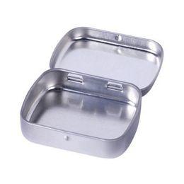 Wholesale Tea Tins Wholesaler - Plain Silver Tin Box 60mmx47mmx15mm Rectangle Tea Candy Mint Business Card USB Storage Box Case Wholesale ZA3967