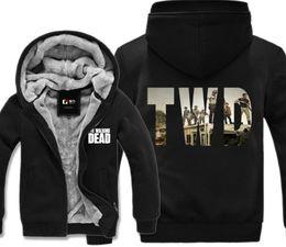 Wholesale Turtleneck Hoodie Mens - TV Series The Walking Dead TWD Print Hoodie Winter Fleece Mens Sweatshirts Thick Warm USA Size M-3XL