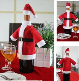 Wholesale Clothes For Home - Wholesale- 2pcs  Set Christmas Decoration Red Wine Bottle Covers Clothes With Hats For Home Christmas Dinner Party Or Gift Free Shipping