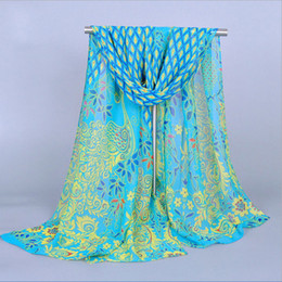 Wholesale Wholesale Silk Peacock Scarves - Wholesale-2016 Hot sale Details about New Lady Women Peacock Chiffon Scarf Soft Shawl Silk Wrap Neck Warm Stole Free shipping