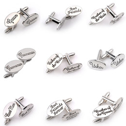 Wholesale Grooms Wedding Gifts - Men French Shirt Cuff Links Father of he bride   Best Man  Father of the groom   Best friend Letters Silver Plated Wedding Gift Cufflinks