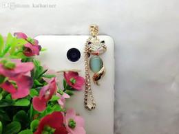 Wholesale Dust Plug Fox - Wholesale-2016 lovely Little cute fox opal gem Phone Accessories rhinestone crystal Dust Plug phone crystal earphones for Iphone Samsung