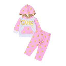 Wholesale Baby One Piece Hoodie - Mikrdoo Autumn Winter Baby Clothing Sets ONE Gold Dot Hoodies Toddler Kids Girl Hoodie Tops Pink Long Pants Clothes Suits 2Pcs Cotton Set