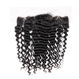 Wholesale New Deep Wave - New Arrival Brazilian Virgin Hair Deep Wave Lace Frontal Closure Size 13x4 Ear To Ear With Baby Hair Free Shipping
