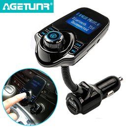 Wholesale 1g Sd Cards - 2017 New Bluetooth Car Kit handsfree Set FM Transmitter MP3 music Player 5V 2.1A USB Car charger, Support Micro SD Card 1G-32G