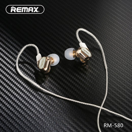 Wholesale Usb Voice Microphone - Remax RM-580 Dual Moving-coil Wired Earphone Sport Running Stereo Headphone Bass Headset with Microphone Voice Control Music for Smartphone