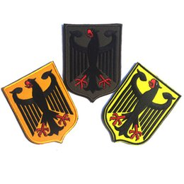 Wholesale Germany Coat - 30 PCS Germany Coat of Arms Patch German Eagle Shield Embroidered Badge Tactical US Army Morale Patch Wholesale free ship