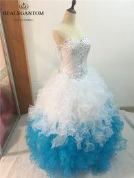 2017 Sexy Mode Bleu Et Blanc Robe De Bal Quinceanera Robes avec Perles Paillettes Plus La Taille Doux 16 Robes Robe Robes Debutante Robes BQ18 ? partir de fabricateur