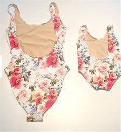 Wholesale Sleeveless One Piece Bathing Suit - Mom Girl Swimming Suit Mother Daughter Floral Bikini Swim Wear Mom Kids One-piece Matching Swimwear Family Match Swimsuit Bathing Beachwear