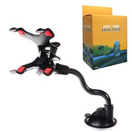 Wholesale Neck Phone Holders - For iPhone 6 6s Double Clip Car Mount Easy-To-Use Universal Long Arm neck 360°Rotation Windshield Phone Holder for Cell Phones -Retail Pack