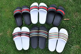 Wholesale Men Slippers Beach Shoes - 2017 Newest men Slippers Indoor Sandals boys Fashion Scuffs stripe Pink Black White Grey summer Slides High Quality Beach shoes Eur 40-45