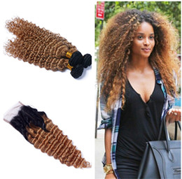 Wholesale Two Tone Blonde Ombre Hair - Two Tone 1B 27 Honey Blonde Dark Roots Ombre Human Hair Bundles With Lace Closure Ombre Brazilian Hair Deep Wave Curly With Closure