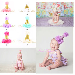 Wholesale Mini Felt Flowers - Cute Newborn Mini Felt chiffon Girls Infant petals Crown Hat Caps Flowers Headbands For Baby Girls 1st Birthday Party Hats Hair Accessories