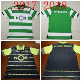 Wholesale Camisas Sport - TOP THAI QUALITY 17 18 Sporting Lisbon Home Soccer Jersey camisas de futebol 2017 Luis Figo Nani TEO Slimani William away football shirts