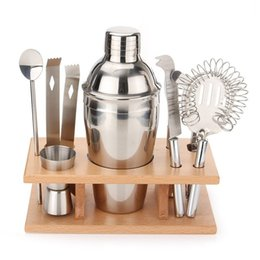 Wholesale Stainless Steel Shaker Kit Red Wine Cocktail Shakers Set Western Style Metal Shacker Kits Easy To Clean Bar Tool mc I