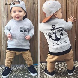Wholesale Kids Fall Outfits - Fall Winter Anchor Sport Set For Baby Boy Girl Outfits Boutique Clothes Toddler Infant Kid Sweater+Trouser 2PC Suit Tracksuit 0-4 Year
