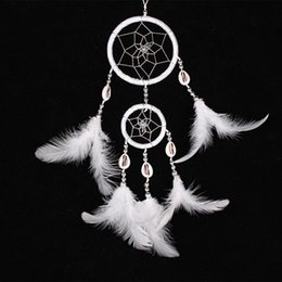 Wholesale Home Handmade Decoration - Handmade Indian Dream Catcher 35cm Double Circles Net with Feathers Wind Chimes Wall Hanging Dreamcatcher Craft Gift