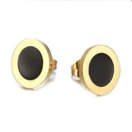 Wholesale White Iron Numbers - The rose gold ear nail wholesale classic selling round shell agate nail yan yilan iron black small ear nail