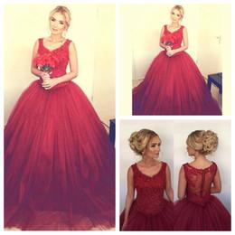 Wholesale Vestidos Formales - Ball Gown Burgundy Prom Dresses Lace Appliques Vestidos formales de noche Evening 2018 Cheap Plus Size Quinceanera Dress Dubai Party Gowns
