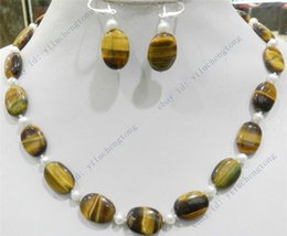 Wholesale True Pearls - FREE SHIPPING>>NEW TIGER'S EYE OVAL GEMS & TRUE WHITE CULTURED PEARL NECKLACE EARRINGS SET