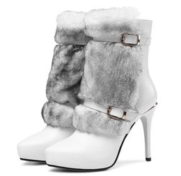 Wholesale White Boots Fur Wedding - New design womens white boots shoes ankle zipper point toes sexy lady TG1287 womens wedding winter boots shoes black white fur