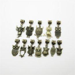 Wholesale Bronze Owl Bead Necklace - 24pcs Mix bronze owl beads charms big hole pendant fit for pandora style bracelet DIY pendants