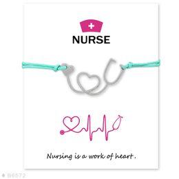 Wholesale Unisex Friendship Bracelets - Silver Tone Heart Stethoscope Nurse Charm Bracelets & Bangles for Women Girls Adjustable Friendship Statement Jewelry With Card