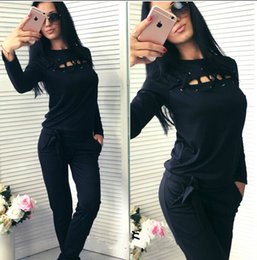 Wholesale Womens Velour Sets - 2Pcs Womens Sport Tops Pants Cotton Tracksuit Sweatshirt Sweat Suit Jogging Set + Free Shipping + Free Gift