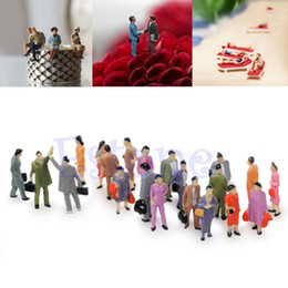 Wholesale Scale Models People - Chic 100x 1:100 Building Layout Model People Train HO Scale Painted Figure Passenger
