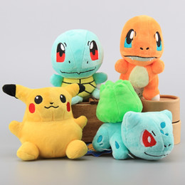 Wholesale Quality 16 Movies - High Quality 4 Pcs  Set Plush Toy Pikachu Figure Charmander Squirtle Bulbasaur Cute Stuffed Animals Soft Dolls 16 Cm