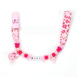 Wholesale name beads wholesale - Wholesale-Personalised -Any name Hand made funny pink small rabbit beads dummy clip dummy holder pacifier clips soother chain for baby