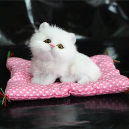 Wholesale Cat Doll Talking - Wholesale- Cute Simulation Animal Doll Plush Sleeping Cats Toy Talking Sound Kids Toy Birthday Gift Doll Decoration stuffed toys L2039