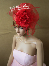Wholesale Large Feather Headbands - Woman headdress hair Catwalk studio large red feather flower bride exaggerated small hat headdress other hair makeup exam