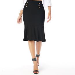 Wholesale Higher Work - Beauty Garden Women Black High Waist Elegant 2017 New Fashion Work Black Mermaid Pencil Skirts For Work Office