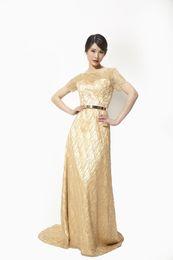 Wholesale Golden Elegant Dresses - Banquet Evening Dresses High End New Slim Long Section Golden Bridesmaid Dresses Elegant Long Sleeved Party Host Dresses