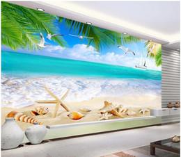 Wholesale Vintage Beach Painting - 3d room wallpaper custom photo mural Summer beach fresh ocean beach shell TV painting picture 3d wall murals wallpaper for walls 3 d