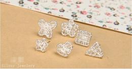 Wholesale Nest Earrings - Wholesale 925 sterling silver stud earrings women twine nest small ears nails totally handmade fine earrings mix
