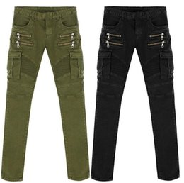 Wholesale Cheap Army Pants - Wholesale-Famous Brand Army Green Black Stretch Moto Jeans Mens Skinny Overalls Jean Cheap Designer Pants Slim Fit Jeans Men High Quality