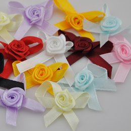 Wholesale Red Satin Ribbon Rose - Wholesale-50pcs Satin Ribbon Flowers Bows Rose Sewing Wedding Appliques U pick B139